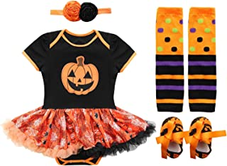 Toddler Girls Halloween Outfits Pumpkin Short Sleeve Bodysuits Tutu Lace Skirt 4 Pcs