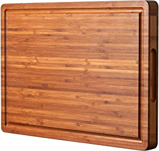 """Bamboo Wood Cutting Board for Kitchen, Cheese Chopping Board, Butcher Block, 1.2"""" Thick with Hidden Side Handles and Juice..."""
