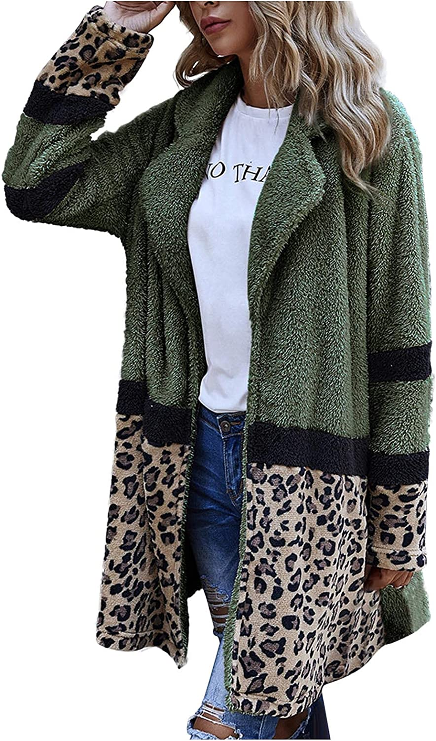 Womens Faux Fur Oversized Cardigan Fashion Leopard Color Block Coat Casual Long Sleeve Open Front Tops Warm Outerwear