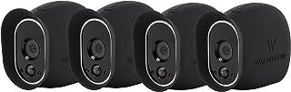 Fundas de Silicona para cámara de Seguridad Arlo Smart Security - Cámaras 100% inalámbricas de Wasserstein (Pack de 4 - Color Teja Negro)