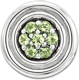 Solid 925 Sterling Silver Stackable Expressions Small Polished Simulated Peridot Chain Slide Pendant
