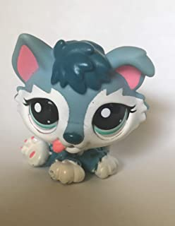 Husky Puppy #2036 (Blue) Littlest Pet Shop (Retired) Collector Toy - LPS Collectible Replacement Single Figure - Loose (OOP Out of Package & Print)
