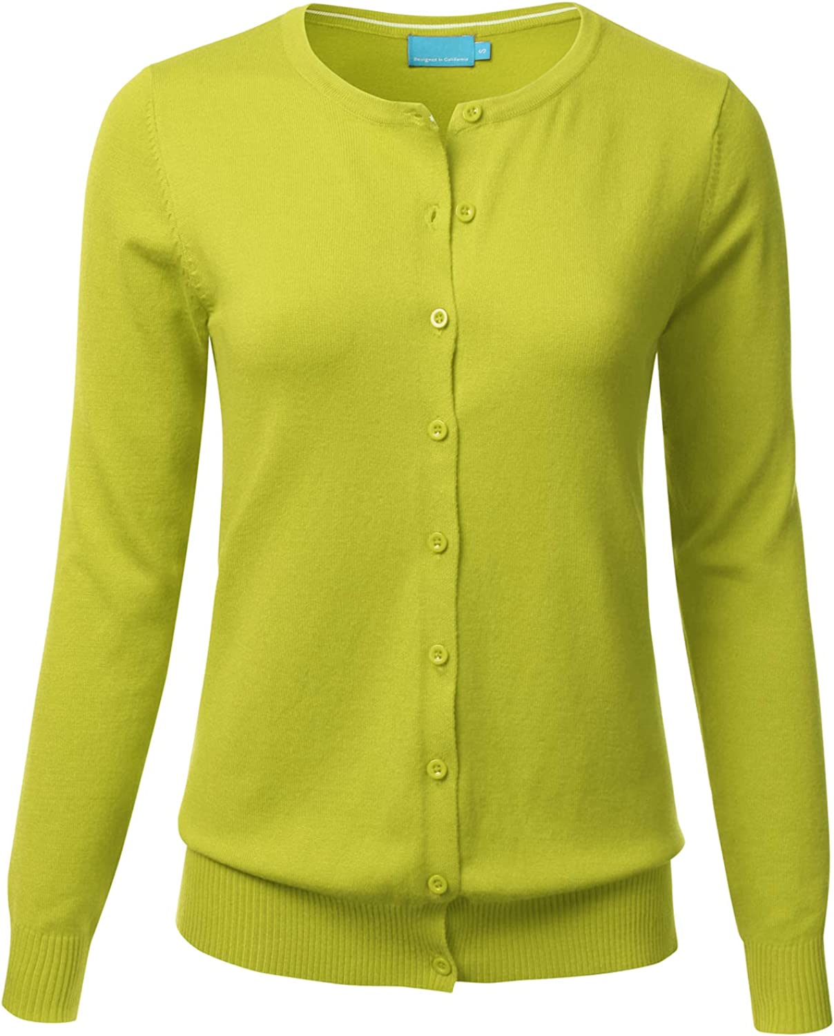 FLORIA Women's Button Down Crew Neck Long Sleeve Soft Knit Cardigan Sweater Lime M