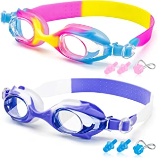 Swim Goggles - Kid Swimming Goggles with Nose Clip + Ear Plugs, Anti Fog for Adult Men Women Youth