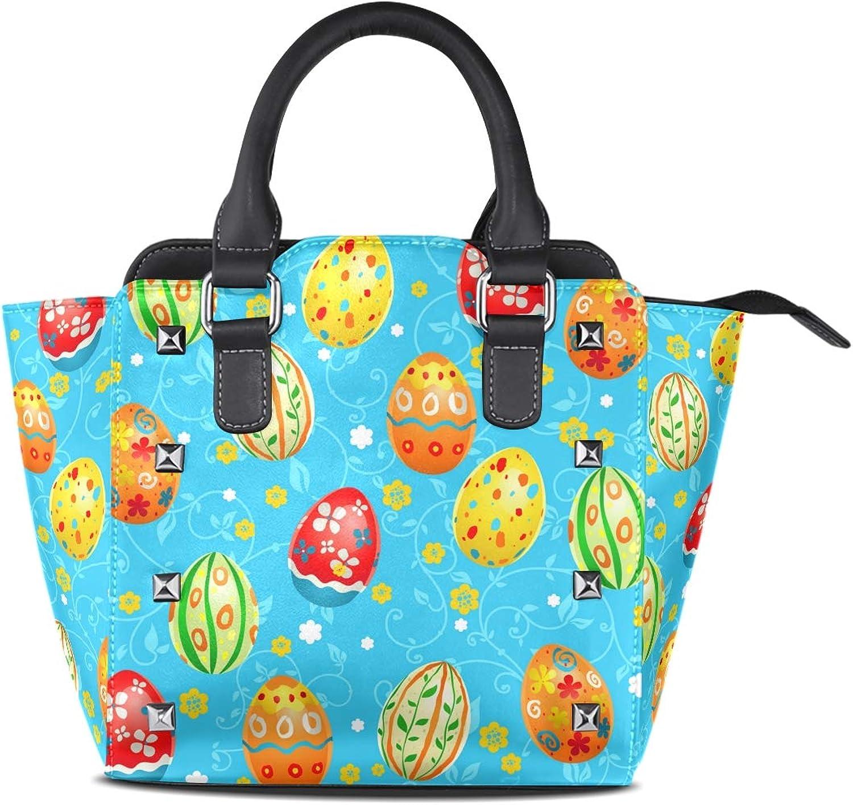 My Little Nest Women's Top Handle Satchel Handbag Easter Multicolor Eggs Ladies PU Leather Shoulder Bag Crossbody Bag