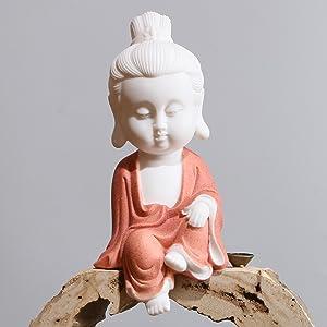 Leopard White Ceramic Little Cute Buddha Statue Buddha Figurines Home Decor Creative Crafts Ornaments Gift Delicate Ceramic Arts and Crafts (Red)