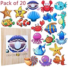 AhlsenL 20 PCS Sea Creature Stickers Anti-Slip Bathtub Stickers Adhesive Shower Safety Appliques for Bath Tub and Shower Surfaces Peel and Stick Removable