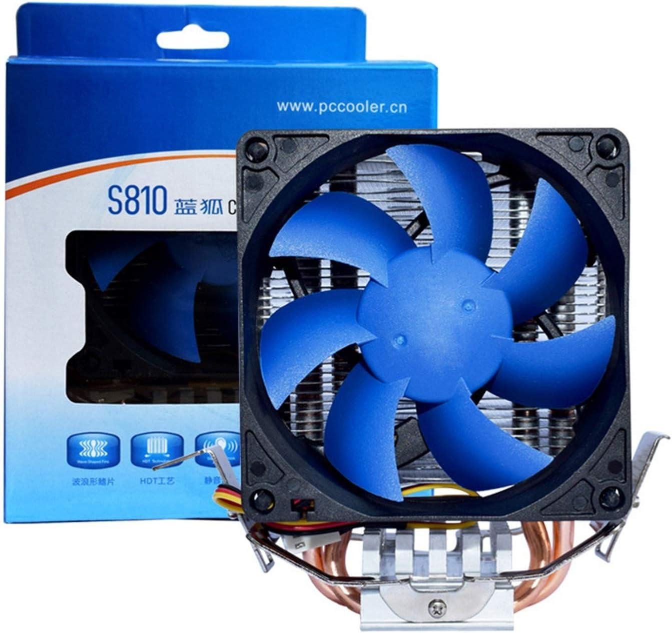 Tranquilo Radiador de la CPU bajo presión Multi-Platform Wind 8cm Mute Desktop Fan Ventilador Fácil de Transportar e Instalar (Color : Blue Fox CPU Radiator)