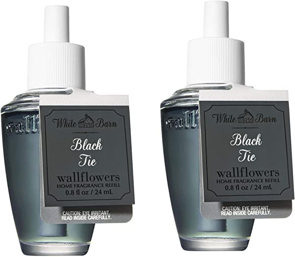 Set Of 2 Bath And Body Works White Barn Black Tie Wallflower Refill Bulbs 2015 Collection