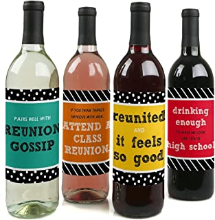 Class Reunion - Decorations for Women and Men - Wine Bottle Label Stickers - Set of 4