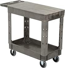 "Plastic 2 Flat Shelf Service & Utility Cart, 38"" x 17-1/2"", 5"