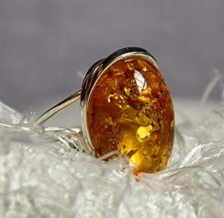 MJ Baltica anello Argento 925 e Ambra Naturale regolabile grande colore unico artigianale BP037