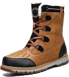 Bottines De Neige Hommes, Bottes Hiver Après Ski Plates avec Fourrure Chaude en Tissu Chaussures Intérieur Fourrée Confort...
