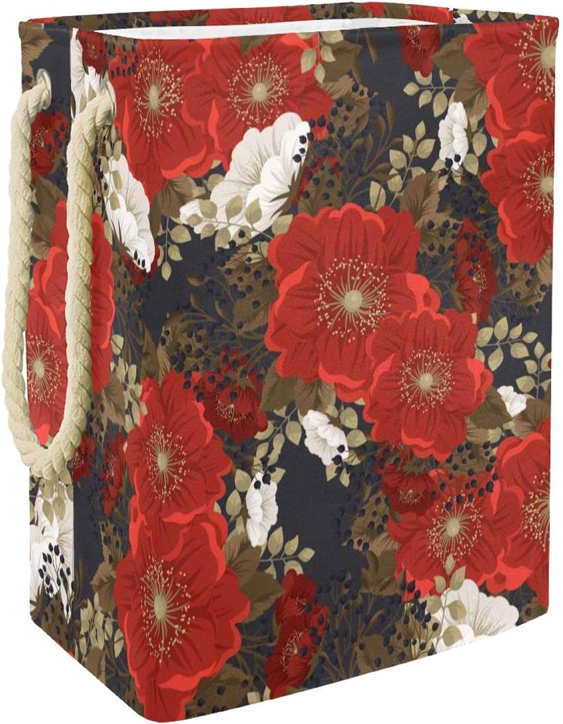 Gifts MAPOLO Laundry Now free shipping Hamper Red Storage Foldable Linen Flower