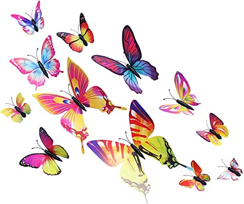 2021 Butterfly Wall Decals: 12PCS 3D Butterfly lowest Mural Stickers Wall Stickers Decal online for Home&Room Decoration sale