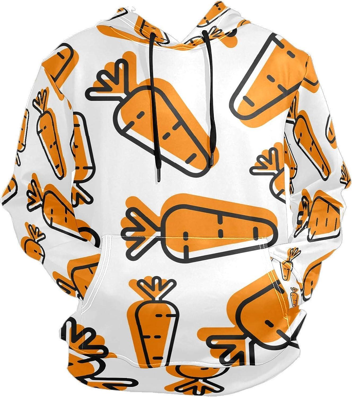 Orange Carrot Outline Doodle Mens Sport Hoodie Big and Tall Hoodies for Men Women Oversized Hooded Sweatshirt Hip Hop Pullover Hoodie Midweight Hood for Boys Girls