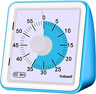 Yunbaoit Visual Analog Timer,Silent Countdown Clock, Time Management Tool for Kids and Adults (Blue)