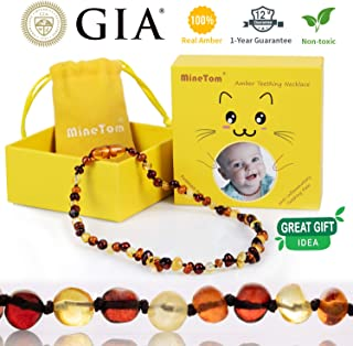 Minetom Baltic Amber Teething Necklace for Baby, Anti Inflammatory, Drooling and Natural Teething Pain Relief, GIA Certified Pure Baltic Amber Unisex Baby Necklace, Cherry-Honey