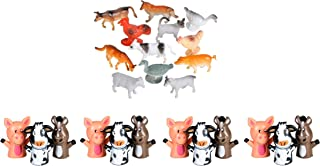 Farm Animals And Farm Finger Puppets Toy Set - 12 Farm Animals Figures And 12 Farm Puppets | Farm Animal Playset Perfect F...