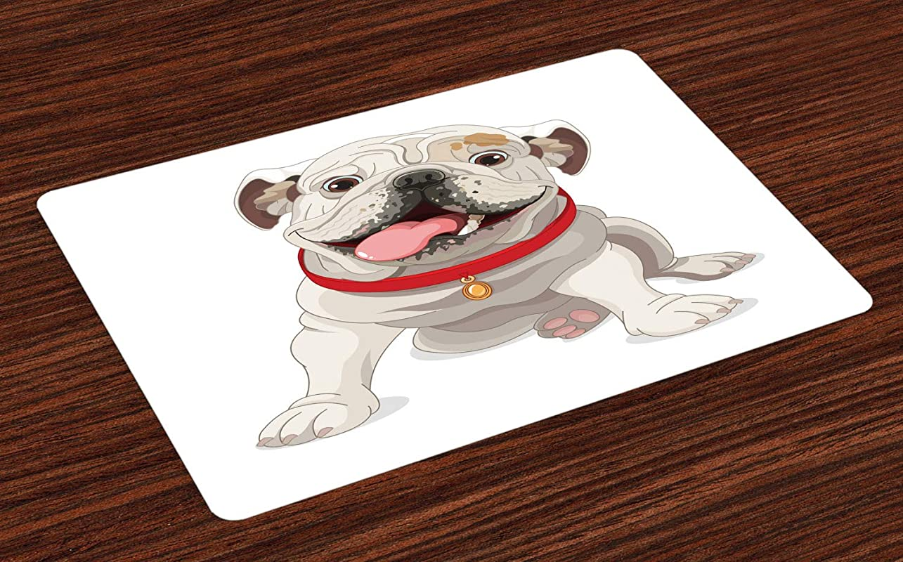 Ambesonne English Bulldog Place Mats Set Of 4 Happy Puppy With A Red Collar Domestic Pure Breed Animal Illustration Washable Fabric Placemats For Dining Room Kitchen Table Decor Cream Red Pink