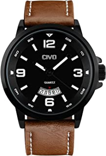 CIVO Mens Watches Leather Waterproof Black Watch Men Date Calendar Large Face Design Wrist Watches Casual Business Dress Fashion Classic Analogue Quartz Watches for Men Black