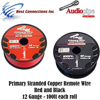 12 GAUGE WIRE RED & BLACK POWER GROUND 100 FT EACH PRIMARY STRANDED COPPER CLAD