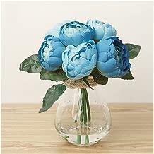 Eforstore 1 Bouquet Artificial Peony Silk Flower for Home Wedding Party Decor (Blue)