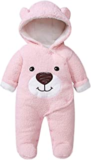 Newborn Cute 3D Bear Warmer Snowsuit Cotton Fleece Hooded Romper Jumpsuit for Baby Girl Boy