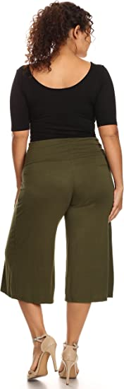 Women S Plus Size Soft Capri Gaucho Pants Made In Usa At Amazon Women S Clothing Store
