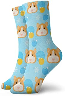 Guinea Pig, Snow And Glass Ball Painting Art Printed Funny Novelty Animal Casual Cotton Crew Socks 11.8inch