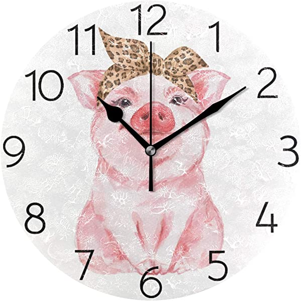 MOYYO Funny Pig Watercolor Animal Wall Clock Acrylic Silent Round Wall Clock Battery Operated Creative Decorative Clock For Kids Living Room Bedroom Office Kitchen Home Decor