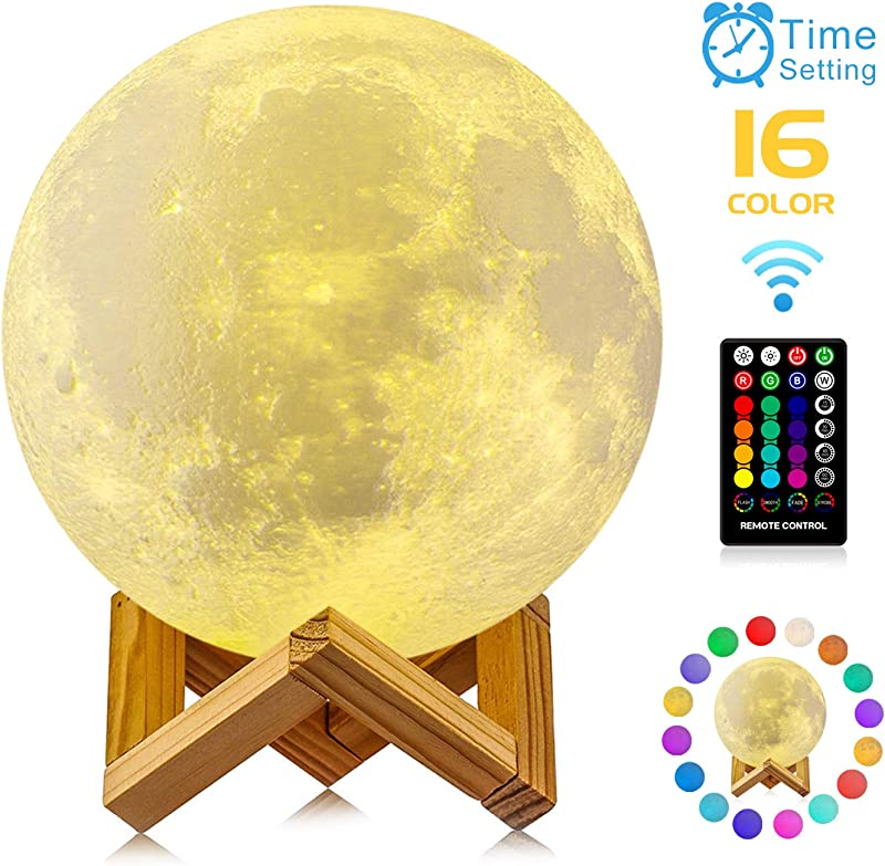 Moon Lamp GDPETS 3D Printing 9 6 Inches 16 Colors Moon Night Light With Stand Remote Touch Control And USB Rechargeable Decorative Luna Lamp