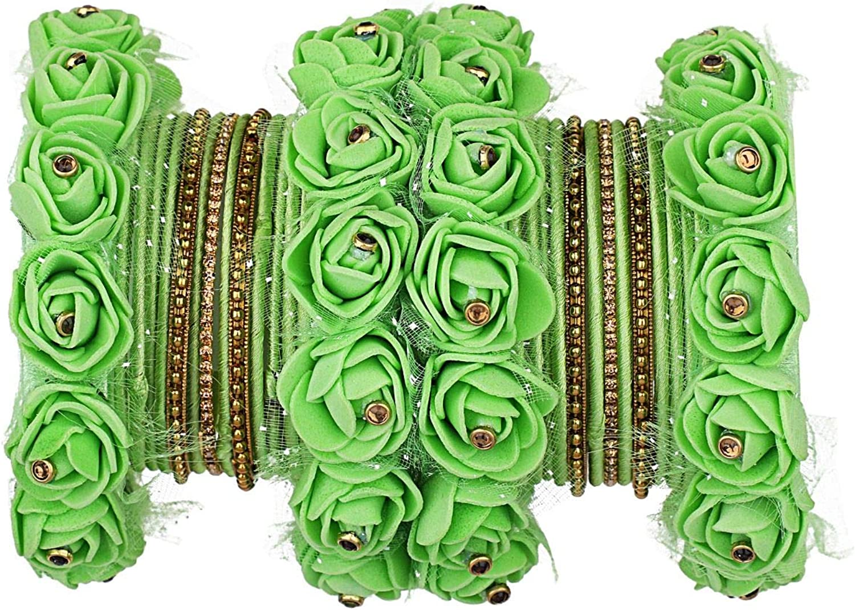 Efulgenz Indian Bracelet Floral Silk Thread Bangles Set Jewelry