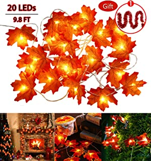 BiBOSS LED Maple Leaf String Lights Battery Operated, Indoor Outdoor Maple Leaves Fairy Lights, Fall Garland String Lights Decorative Lights for Home Patio Party Thanksgiving Christmas