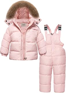 ZOEREA 2 Piece Unisex Kids Girls Snowsuit Hooded Puffer Jacket Snow Pants Pink, Label XL/Age 3-4T