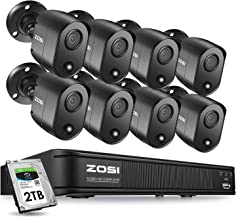 ZOSI 5MP 8 Channel Security Camera System for Home, H.265+ CCTV DVR with Hard Drive 2TB and 8 x 5MP Surveillance Bullet Camera Outdoor Indoor with PIR Motion Sensor,Remote Access