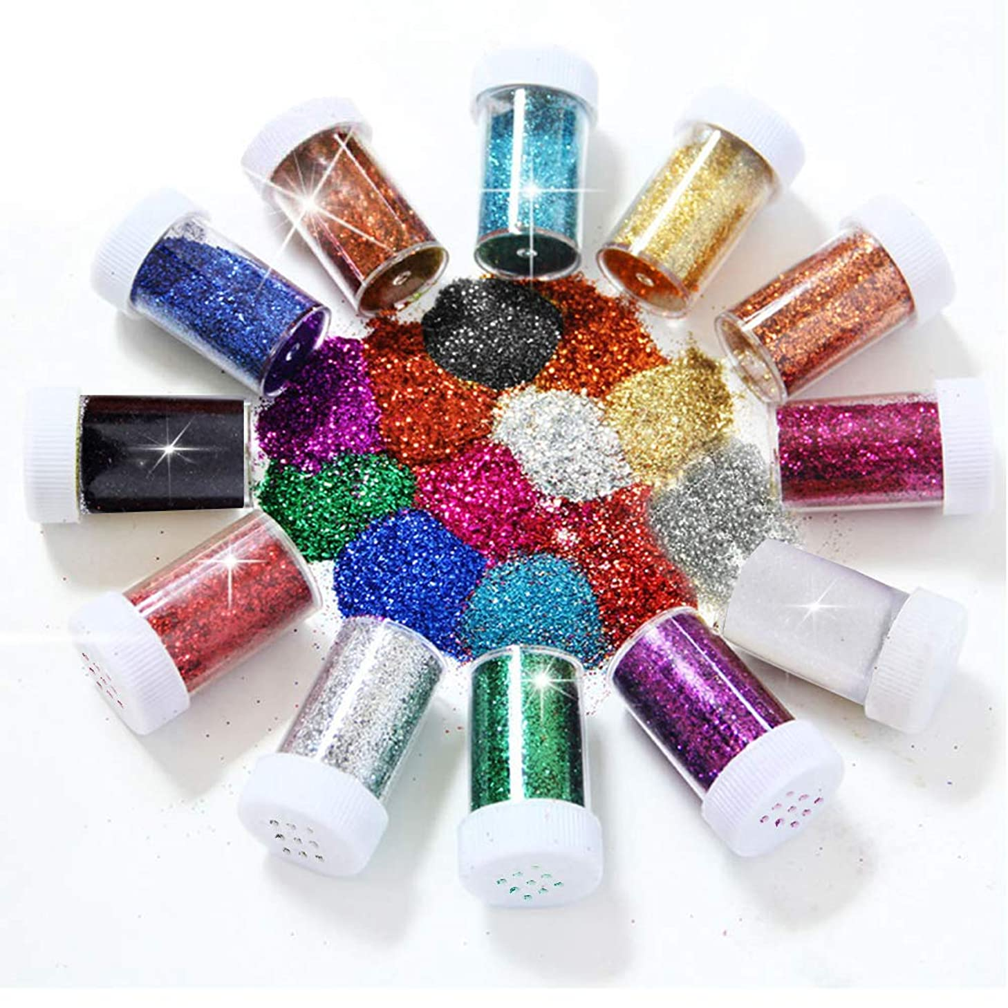 12 Pcs Magic Glitter Shaker for Making Glitter Tumblers, Specially-Made Multi Color Assorted Set Must Have for DIY Glitter Tumbler Crafts