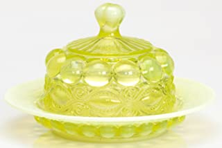 Butterdish - Eyewinker - Vaseline Opalescent - Mosser USA