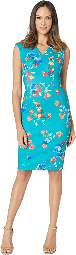 V-Neck Floral Sheath Dress