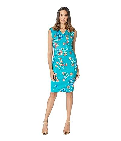 Calvin Klein V-Neck Floral Sheath Dress (Lagoon Multi) Women