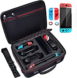 Diocall Deluxe Carrying Case Compatible with Nintendo Switch and Pro Controller, Accessories Bundle Includes Tempered Glass Screen Protector, Joy-con Silicone Case and Thumb Grips Caps