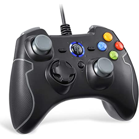 EasySMX Joystick per PC Controller per Giochi con Cavo a Doppia Vibrazione, Turbo Gamepad per PC Windows/Android / PS3 / TV Box (Grigio)
