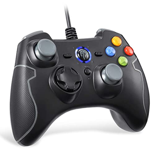 Wired Gaming Controller, EasySMX PC Game Controller Joystick with Dual-Vibration Turbo and Trigger