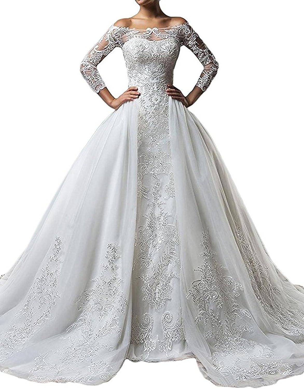 Mermaid Full Sleeve Off The Shoulder Wedding Dress Detachable Train Formal Gowns