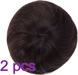 Lurrose 2ピース合成ヘアエクステンションシニョン女性のヘアバンかつら装飾用ブライダル女性レディー(ダークブラウン)