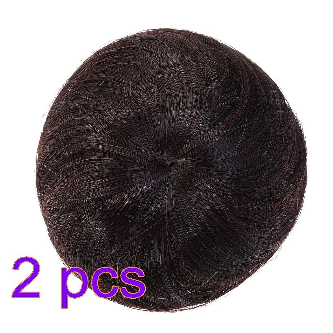 推進、動かす商品品種Lurrose 2ピース合成ヘアエクステンションシニョン女性のヘアバンかつら装飾用ブライダル女性レディー(ダークブラウン)