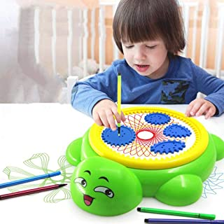 Umiwe Spirograph Deluxe Set para niños Diseño en Espiral Pintura Dibujo Juguetes Juego de Pista Creativo Mágico Pintura Flor Regla Rieles con Color Pen (Tortuga)
