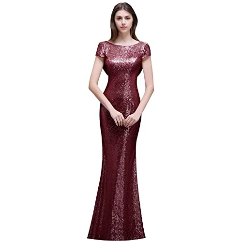 6533cd2f50d MisShow Women Sequins Prom Bridesmaid Dress Glitter Rose Gold Long Evening  Gowns Formal