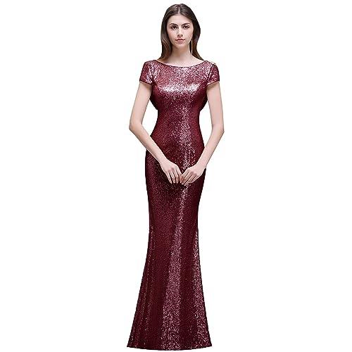 cb5a4997d1a MisShow Women Sequins Prom Bridesmaid Dress Glitter Rose Gold Long Evening  Gowns Formal