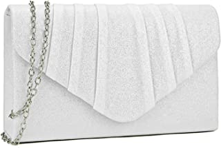 Womens Evening Bag Velvety Pleated Envelope Clutch Handbag Wedding Party Bridal Purse